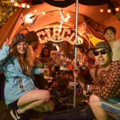 キャンプサイトのサーカステント